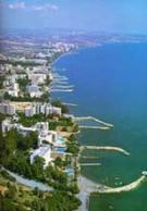 cyprus limassol aerial view of coast lined with first class hotels